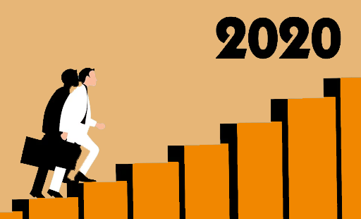 Business professionnal with 2020 text